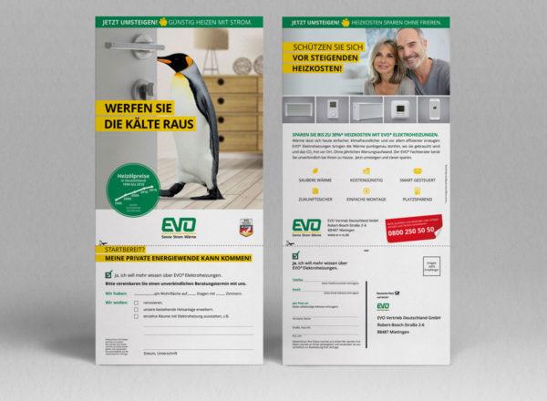 Konzeption, Bildretusche, Bildbearbeitung, Gestaltung Flyer für EVO